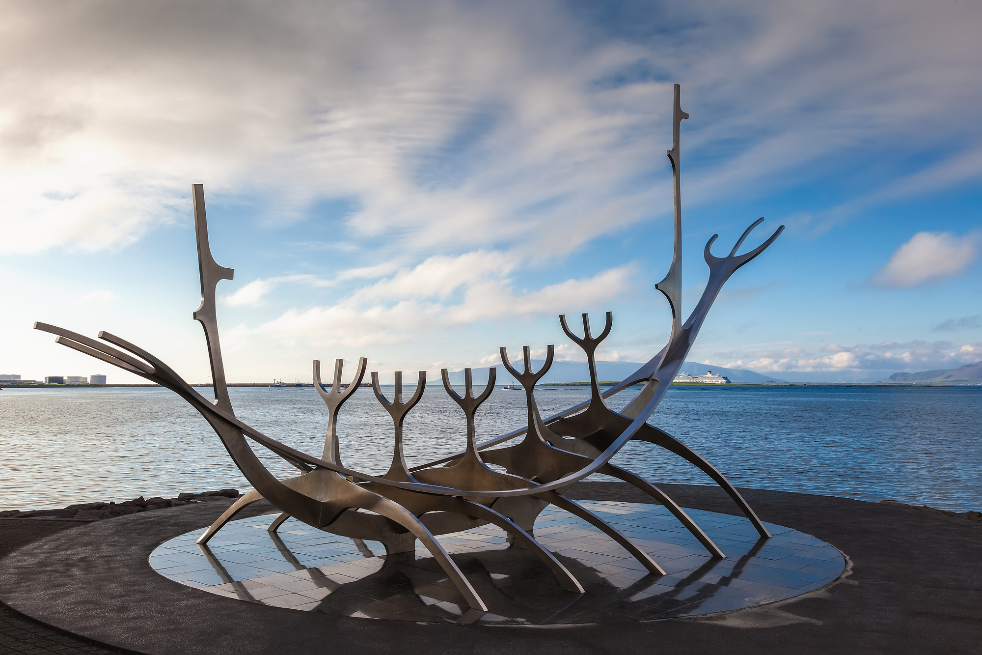 Sun Voyager Monument By The Sea In The Center Of Reykjavik, Icel