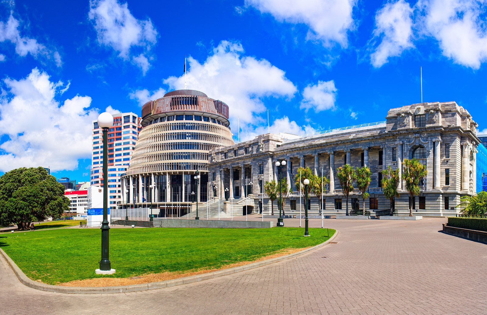 The Beehive and New Zealand Parliament building. Wellington city