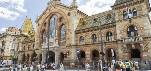 BUDAPEST, HUNGARY, JULY 10,2015: Front view of Great Market Hall of Budapest,  the largest and oldest indoor market in Budapest, Hungary, located at the end of  famous shopping street Vaci utca.