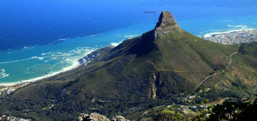 Lions Head and Cape Town, South Africa, as seen from the top of Table Mountain. ** Note: Slight graininess, best at smaller sizes